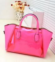 2013 candy color bags transparent jelly bag beach neon women's handbag messenger bag