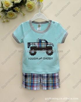 Wholesale children's clothing new carter's boys plaid truck appliqu cotton short-sleeved suit