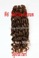 2013 new arrival 18 inch medium brown spiral curl temperament woman human hair weave brazilian