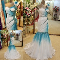 Free Shipping Mermaid/Fishtail Flowers Floor Length One Shoulder Hollywood Evening Dress With Crystals EGS2353