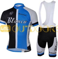 Free Shipping 2013 New Styles BlancoBlack/blue Team Cycling Bike Jersey Shirt +Bib shorts.Man's outdoor sport riding