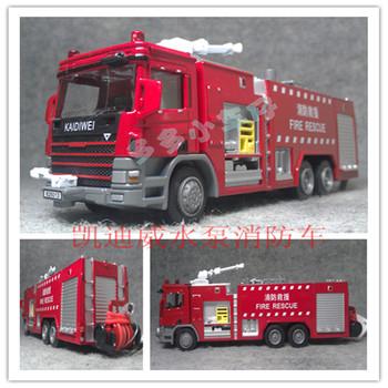 Heavy duty water pump fire truck rotate full alloy car model