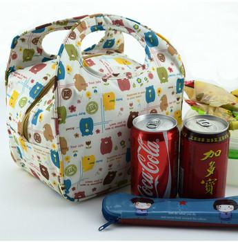Free shipping Bear heat  lunch bag  women's box  handbag package cartoon cooler bags waterproof ice pack