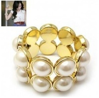 Min order is $10(mix order) fashion jewelry elegant double big pearl elastic bracelet hand ring  wrap bracelets SL094