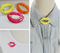 Min order is $10(mix order) fashion female sexy red lips neon color glaze brooch hot-selling brooches collar pins clips JL027