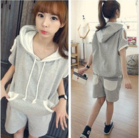 2013 Summer new Korean wave explosion strapless short-sleeved t-shirt hooded sweater leisure suit 8093