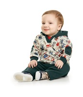 New fashion 2013 children Hoodies,boy's Printed cartoon Warm Clothing Set(coat+Casual pants) 5sets/lot,children autumn  wear
