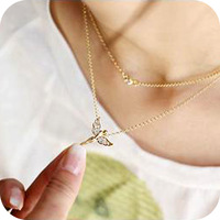 Free shipping Fashion  full rhinestone fly angel chain necklace