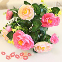 2013 NEW 20PCS 140 heads Artificial flower silk rose camelias home wedding party decoration bouquet gift free shipping NO VASE