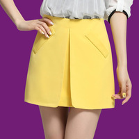 Summer New OL Chiffon A-Line Skirts, Free Shipping! Candy -Colored   Fashion Skirts For Women , Plus size S-3XL