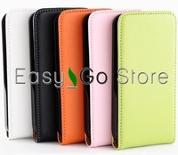 50pcs/lot Colorful Flip Fine Leather Case Cover For iPhone 4 4S,Fedex EMS DHL Free Shipping