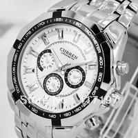 Luxury Water Resistant Date Style Silver Steel Wrist Watch