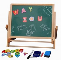 Wooden magnetic drawing board easel beech double faced wool baby writing board 2.1