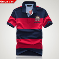 High quality 99 2013 summer gurunvani stripe embroidered male short-sleeve polo shirt male