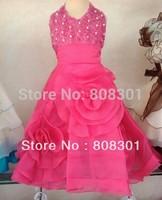 Princess dress - three-dimensional flower + pearl pieces red dress- 90-160cm girl's clothes,flower kids dress