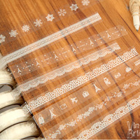 Free Shipping Korean Stationery Wholesale fashion towel lace numbers crown 15mm*10m transparent DIY adhesive sticky tape sticker