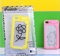 Hot Selling TPU Magic Drawing Cell Phone Case For Iphne 4/4s with Drawing Brush With Retail Box Add Gift