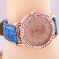 New Arrival Fashion Leather Band Ladie's Quartz Watch For Women QZ3448 1Pcs Free Shipping