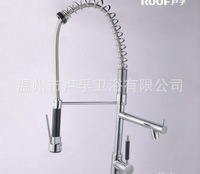 new Pull Out and down Contemporary solid brass kitchen faucet pull out spring sink mixer tap(Chrome)