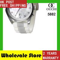 2014 Gift Free Shipping top luxury brand women watch round quartz resistant womens rubber strap dress watches AR5882 men watch