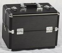 Sunrise professional cosmetics suitcase make-up box strip-line db013b black