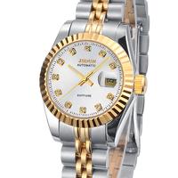 JSDUN New Date Display Luminous Watch CZ Diamond Silver Stainless Full Steel Business Dress Women Self Wind Wris Watches 8737