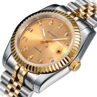 JSDUN New Luminous Watch Silver Stainless Full Steel Date Display Business Dress Men's Women's Mechanical Self Wind Watch 8737