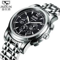 Classical JSDUN Luxury CZ Diamond Full Steel Band Luminous Watch Fashion Date Day 6 Hands Men's Self Wind Wrist Watch 8750