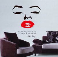 Fashion Marilyn Monroe Red Lips English Wall Stickers Home Decoration Wall Decals Removable  70*50CM Free Shipping
