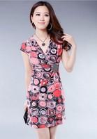 2013 new summer Korean temperament Slim was thin dress large size V-neck milk silk  summer women