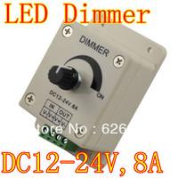 Wholesale 30pcs/lot DC12-24V 8A Led Color Control Dimmer Adjustable Brightness Controller LED