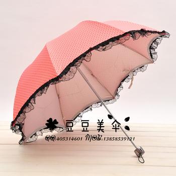 Dot big wave lace decoration princess umbrella folding umbrella cute umbrella structurein apollo umbrella