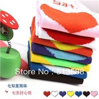Han edition candy color love free shipping/socks/boat socks/Ms. Socks double/bag (7) 121021 can be wholesale