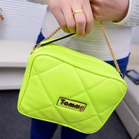 Small neon green bag summer candy color mini-package plaid chain bag mini bag vintage messenger bag