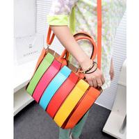 Fashion rainbow  fashion bag patchwork shoulder bag color block women's handbag women's handbag casual handbag