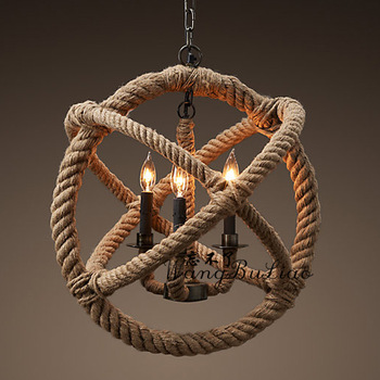 American style pendant light lamps vintage natural hemp rope ball pendant light lamp project light