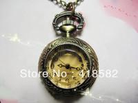 Big Discount Top Quality New style fashion jewelry rhinestone citrine pocket watch necklace 2.6*2.6cm Free shipping --NWHB003