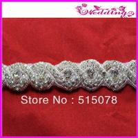 crystal beaded wedding sash shinning rhinestone trimmings applique for bride dress 5yards/lot free shipping