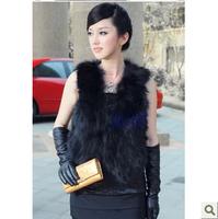 2013 belt fur fox fur vest design short outerwear fox fur vest waistcoat female  women  fashion
