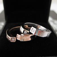 Accessories rhinestone love series opening titanium rose gold ring pinky ring female gift