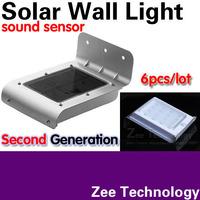 6pcs/lot Latest Version Second generation Solar wall light Solar wall lamp SOUND sensor 16LED Very bright 3MODE:bright/dim/dark