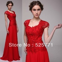 Free shipping Custom Made Red lace Cap sleeves chiffon Prom Evening Dresses S exy Sweetheart Fashion Pageant Formal Gown
