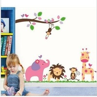 Trees And Elephant Wall Sticker Anime Cartoon Nursery Daycare Baby Room Cool Decoration Wall Sticker 60*90cm