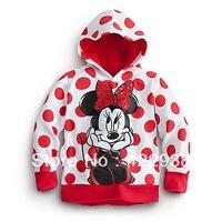 Free shipping children's clothing wholesale 2013 new fashion Minnie bow large dot long sleeve hoodie sweatshirt