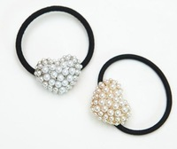 Min-order $6 Fashionable pearl heart shaped elastic hair band hair accessories free shipping