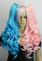 Wig lolita blue powder wig color block decoration high temperature wire split type wig horseshoers double
