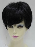 Wholesale Imitation human made Cosplay wig black wig hair 5252m1b stubbiness