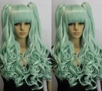 Wholesale Imitation human made V magnet Teal cosplay wig horseshoers double split type
