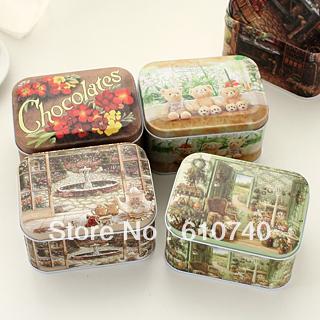 Nostalgic vintage scrub small tin tea caddy storage box candy box(China (Mainland))
