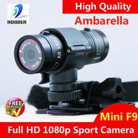 Freeshipping 100% Original HD 1080p Waterproof action camera Mini Sport DV F9/Helment camera with H.264 120 Deg Lens Ambarella